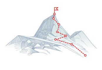 Mountain climbing route to peak. Business journey path in progress to success vector concept