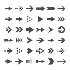 Arrow button icons. Right arrowhead signs. Rewind and next vector symbols