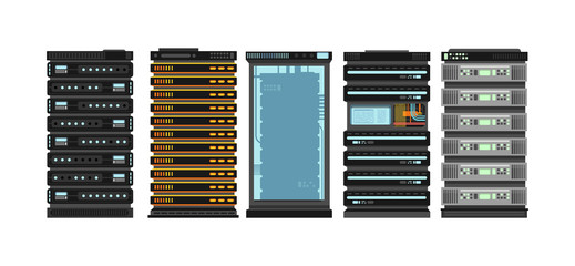 Modern flat server racks. Computer processor servers for server room. Vector set isolated on white background
