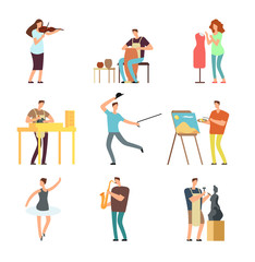 Happy people of art and music. Cartoon artists and musicians vector isolated characters in creative artistic hobbies