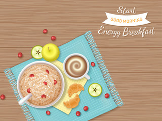 Energy Breakfast. Food, bakery,drink, fruit. Oatmeal Porridge with berries, croissants, coffee with foam, apple, apple slices on a napkin and wooden table. Top view. Vector illustration.