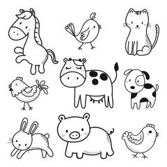 cute animals sketch vector set