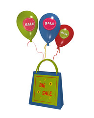 sommerliche Einkaufstasche mit Sale Etikett und bunten Luftballons mit sale Aufklebern auf weiß isoliert. 3d render