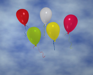 bunte Luftballons im Wolkenhimmel. 3d render