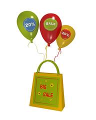 sommerliche Einkaufstasche mit Sale Etikett und bunten Luftballons mit sale 20% auf weiß isoliert. 3d render
