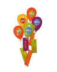 Bunte Luftballons mit 20% Aufklebern und Sale Werbung auf weiß isoliert. 3d render