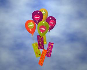 bunte Luftballons mit Sale-Aufklebern an denen Werbung hängt, im Wolkenhimmel. 3d render