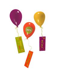 Luftballons mit 30% Aufklebern und Sale Werbung auf weiß isoliert. 3d render