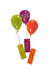 Luftballons mit Sale 70% Werbung auf weiß isoliert. 3d render