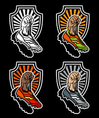 Raised hand holding football boots on shield background. Hand drawn vector illustrations in different colors, isolated on black.
