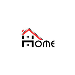 Abstract real estate, house, apartment, building logo vector design template with inscription home