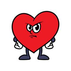 Cartoon Angry Heart Character