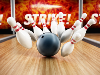 Bowling strike concept with rolling ball and pins. 3D illustration