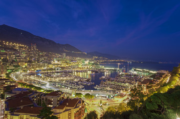 port of Monte Carlo, Monaco. night scene