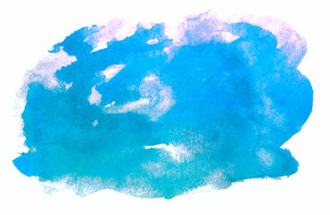 flowing colors, watercolor in blue band band for design. hand drawn on a white background isolated.