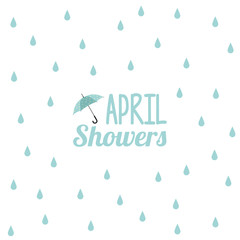 April showers illustration with umbrella icon and rain drops in the background isolated on white.