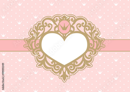 Cute pink background with polka dots and crown luxury gold photo cute pink background with polka dots and crown luxury gold photo frame in the shape stopboris Choice Image