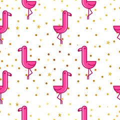 Tropical seamless pattern with pink flamingos and golden dots and stars. Design for fabric, wallpaper, textile and decor.