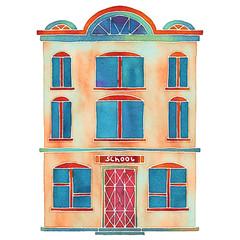 Watercolor cartoon building, school, house exterior