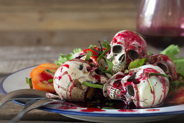 Stir fried Skulls with chili and blood, special food for Halloween day