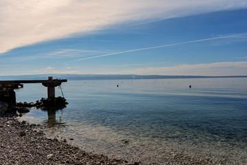 Panoramic view from the beach at crystal clear sea- Croatia- Dalmatia
