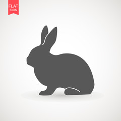 Easter rabbits silhouette isolated on a white background. Cartoon vector element . Animal