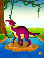 Parasaurolophus on the background of a waterfall.