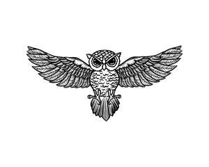 Line Art Flying Owl Bird Hand Drawn Symbol Animal Icon Logo Vector