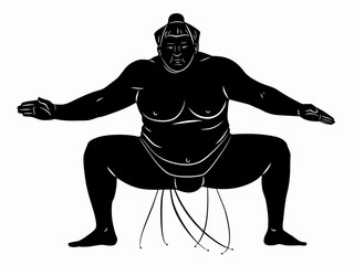 illustration of sumo wrestler, vector draw