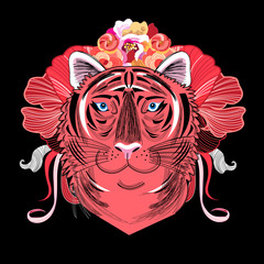 Vector portrait of a red tiger