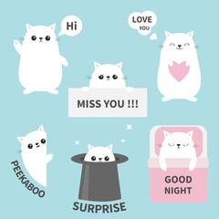 Cat kitten sticker emotion emoji icon set. Miss you. Hi. Good night, love you. Funny head face. Cute cartoon character. Magic hat. Heart. Kawaii animal. Baby card. Flat design. Blue background