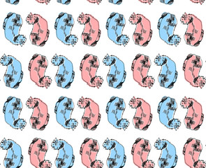 Couple of cats in art graphic hand drawn style. For t-shirt print in pink and blue colors. Seamless pattern