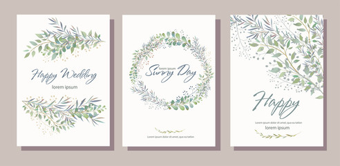 Set of card with beautiful twigs with leaves. Wedding ornament concept. Imitation of watercolor, isolated on white. 