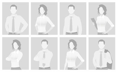 Default placeholder man and woman half-length por