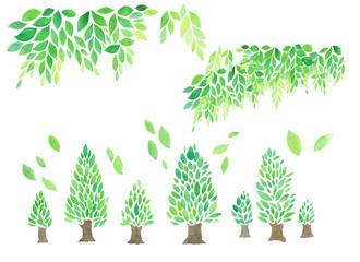 木 若葉  水彩手描き 素材