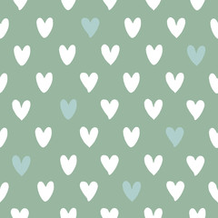 Seamless pattern with symbols of the heart. Simple background. Hand drawn. Vector illustration.