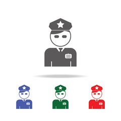 Policeman Officer avatar icon. Elements of airport multi colored icons. Premium quality graphic design icon. Simple icon for websites, web design, mobile app, info graphics