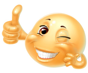 Emoji, smile, thumbs up, isolated on white