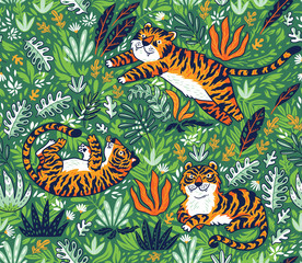 Tropical seamless pattern with funny tigers in cartoon style. Vector illustration