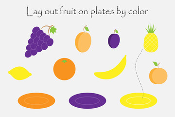 Lay out fruit in cartoon style on plates by color for children, preschool worksheet activity for kids, task for the development of logical thinking, vector illustration