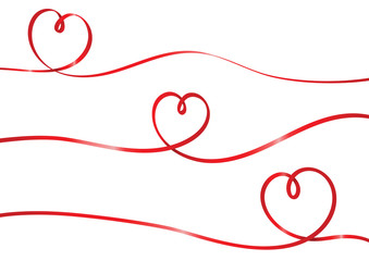 Hearts red ribbon shape isolated vector