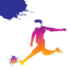 colorful soccer player hitting ball