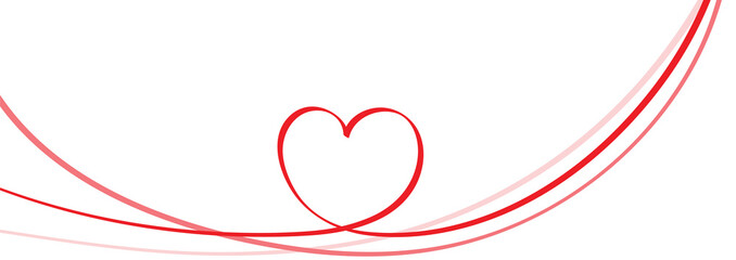 Red heart shape on circle ribbon vector