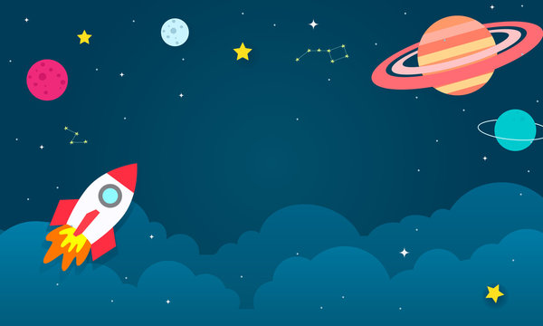 Outer Space Background vector illustration. Cosmos with spaceship cartoon style.