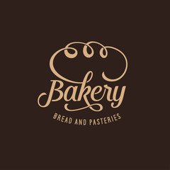 Bakery ornate logotype template calligraphy. Vector vintage illustration.