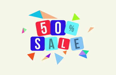 50 Percent SALE Discount Price Offer Sign