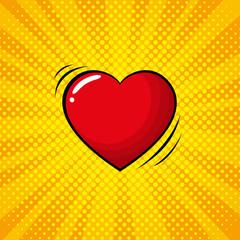 Colorful pop art retro heart, comic style.