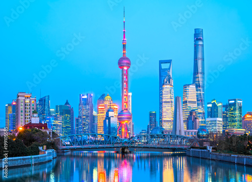 Shanghai City Skyline View Of The Skyscrapers Of Pudong And