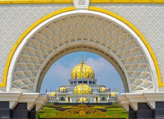 Poster Kuala Lumpur Putra Mosque, in Putrajaya federal territory, Kuala Lumpur, Malaysia.