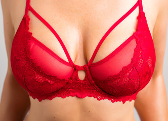 Closeup photo of red lace bra